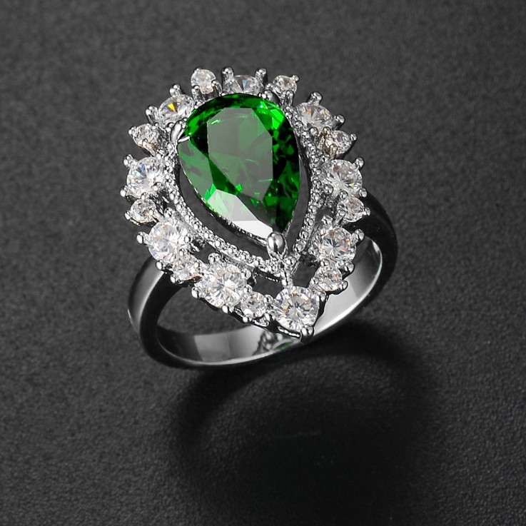 Pear Cut Halo Green Sapphire Engagement Ring