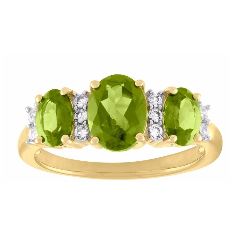Oval Cut Peridot 925 Sterling Silver 3-Stone Birthstone Rings