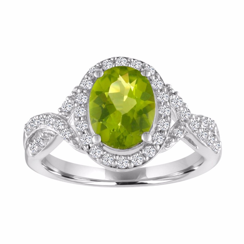 Oval Cut Peridot 925 Sterling Silver Halo Birthstone Rings