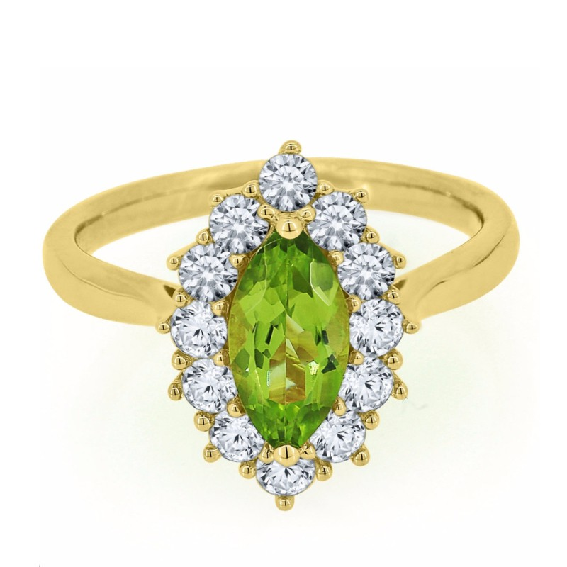 Marquise Cut Peridot 925 Sterling Silver Gold Halo Birthstone Rings