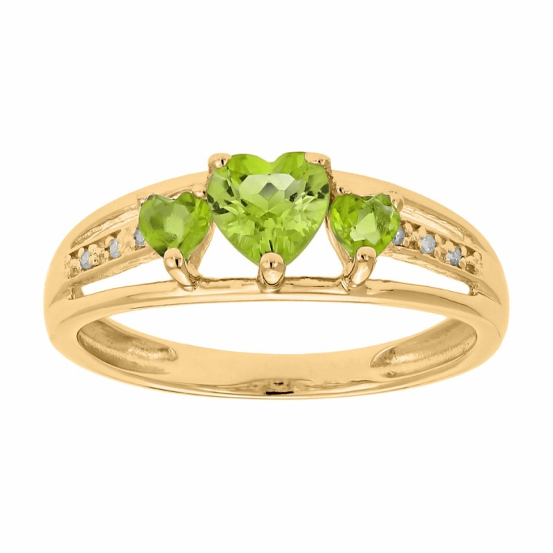 Heart Cut Peridot 925 Sterling Silver Gold 3-Stone Birthstone Rings