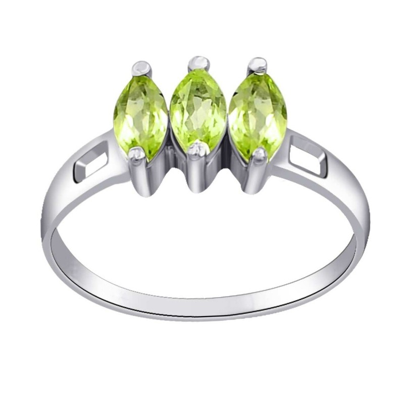 Marquise Cut Peridot 925 Sterling Silver 3-Stone Birthstone Rings