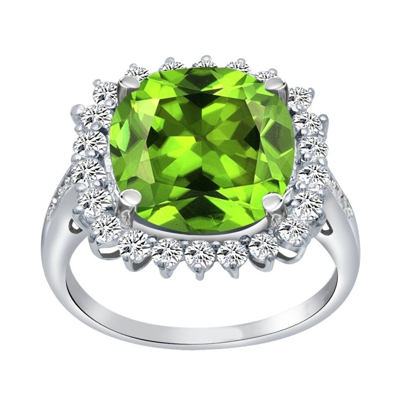 Cushion Cut Peridot 925 Sterling Silver Halo Birthstone Rings