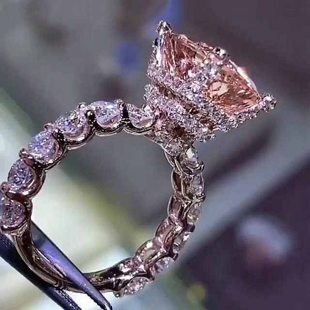 Radiant Cut 9.5 Carat Champagne Sapphire 925 Sterling Silver Engagement Rings