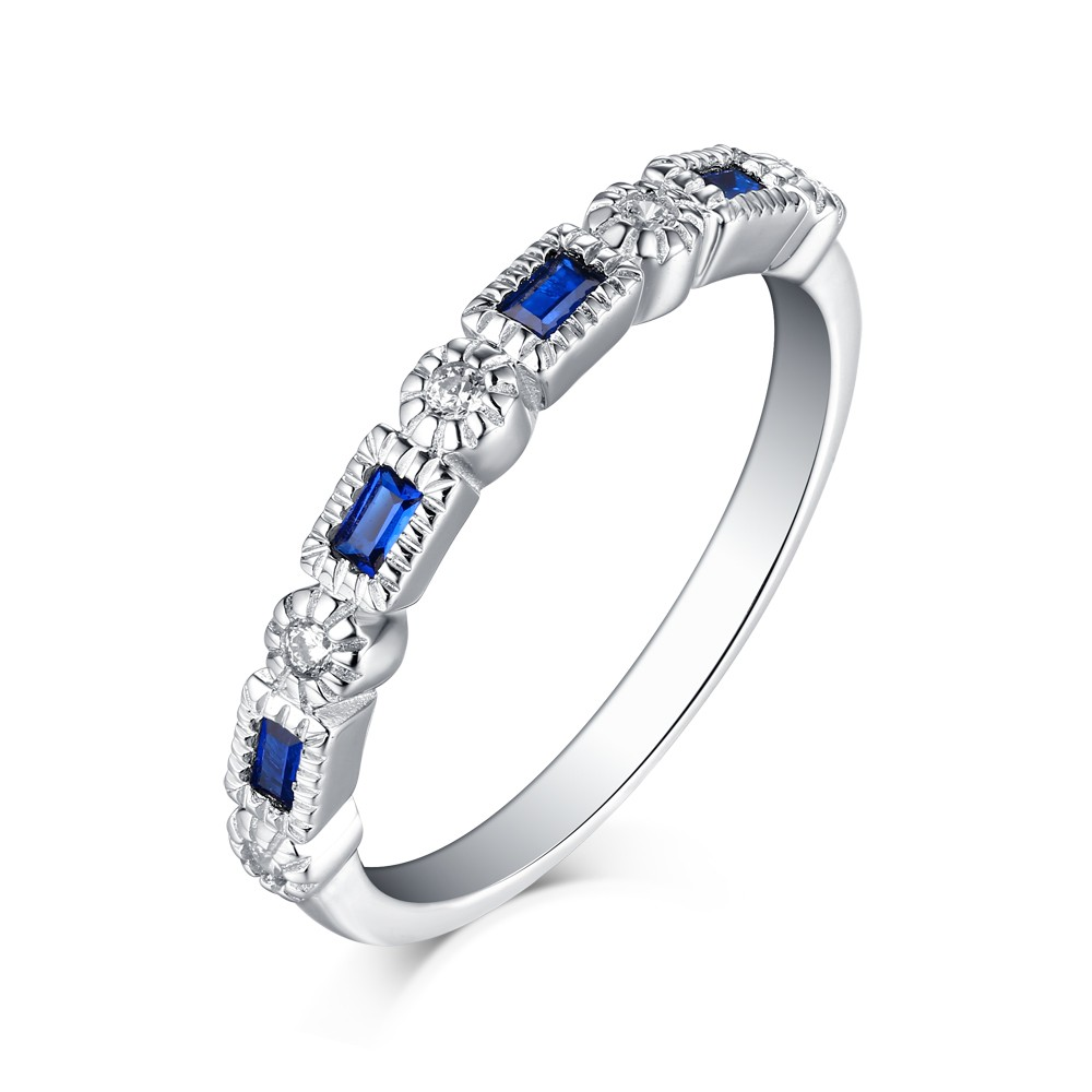 Emerald Cut Sapphire 925 Sterling Silver Wedding Bands
