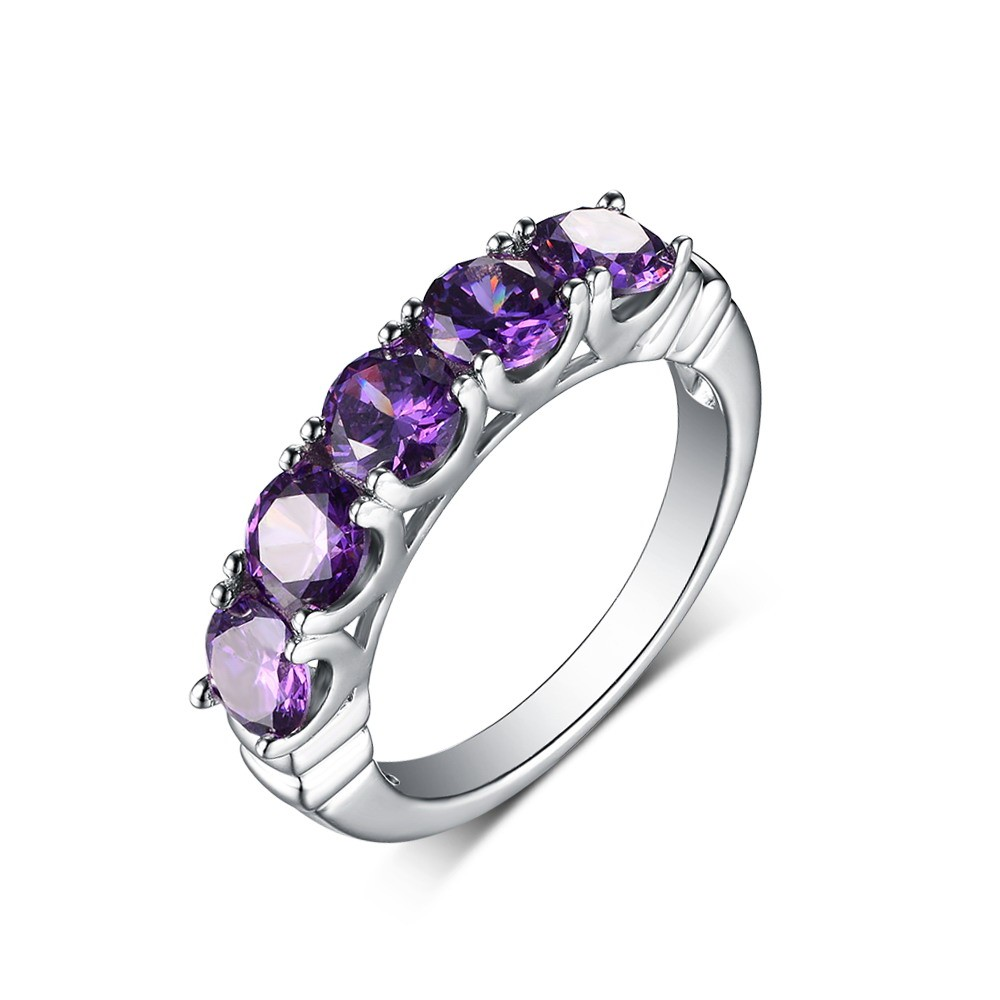 Round Cut Amethyst 925 Sterling Silver Wedding Band