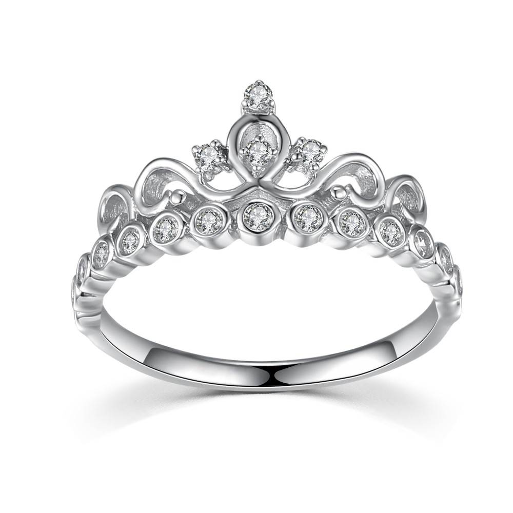 Crown Round Cut Gemstone 925 Sterling Silver Promise Rings For Her