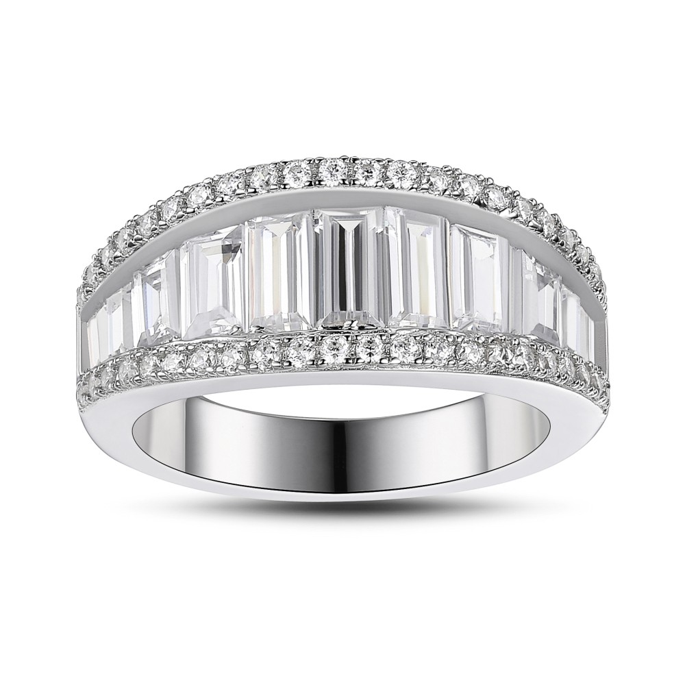White Sapphire 925 Sterling Silver Women's Wedding Bands