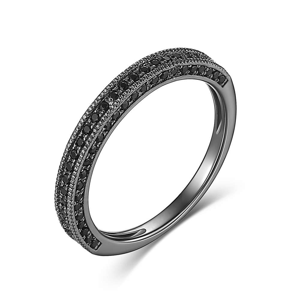Black Round Cut Black 925 Sterling Silver Women's Wedding Bands