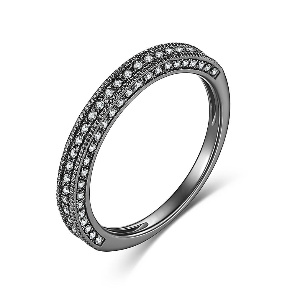 Round Cut Gemstone Black 925 Sterling Silver Women's Wedding Bands