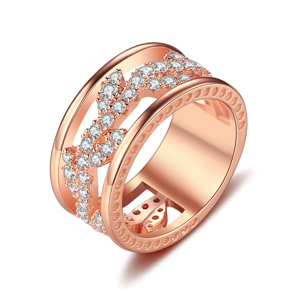 8a9f329203ea1 Round Cut White Sapphire Rose Gold 925 Sterling Silver Women's Wedding Bands