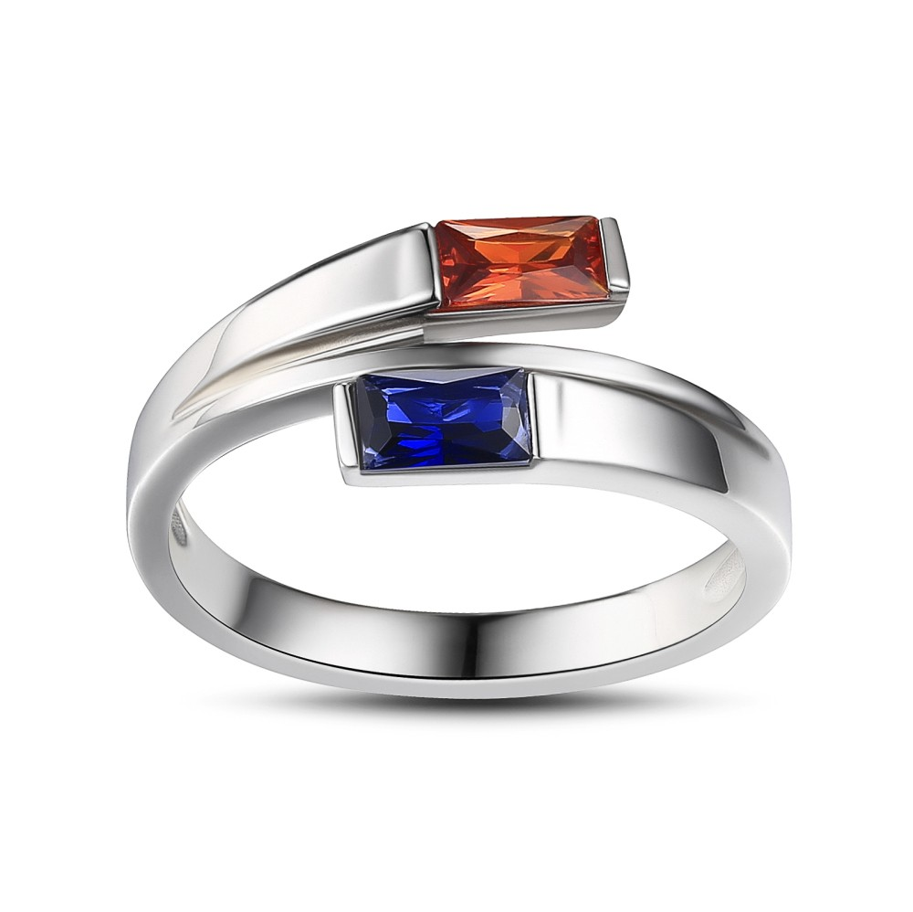 Princess Cut Ruby and Sapphire 925 Sterling Silver Engagement Ring