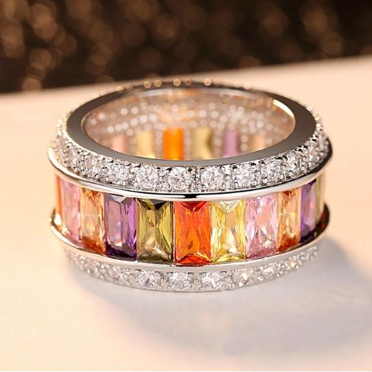 Multicolor Gemstone Delicate Wedding Ring