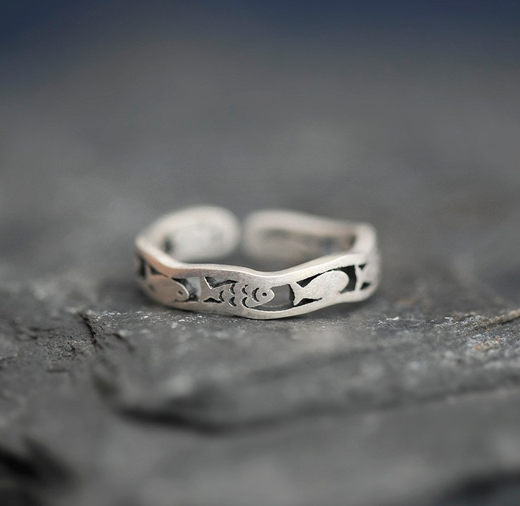 Unique Design Fish Adjustable 925 Sterling Silver Promise Rings For Her