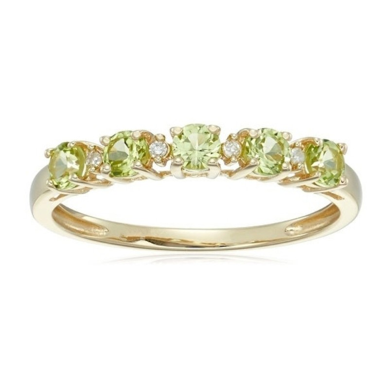 Round Cut Peridot 925 Sterling Silver Gold Birthstone Rings