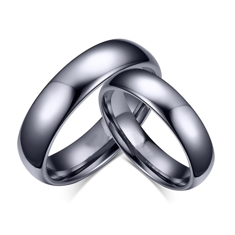 Fashion Black Titanium Steel Promise Ring for Couples