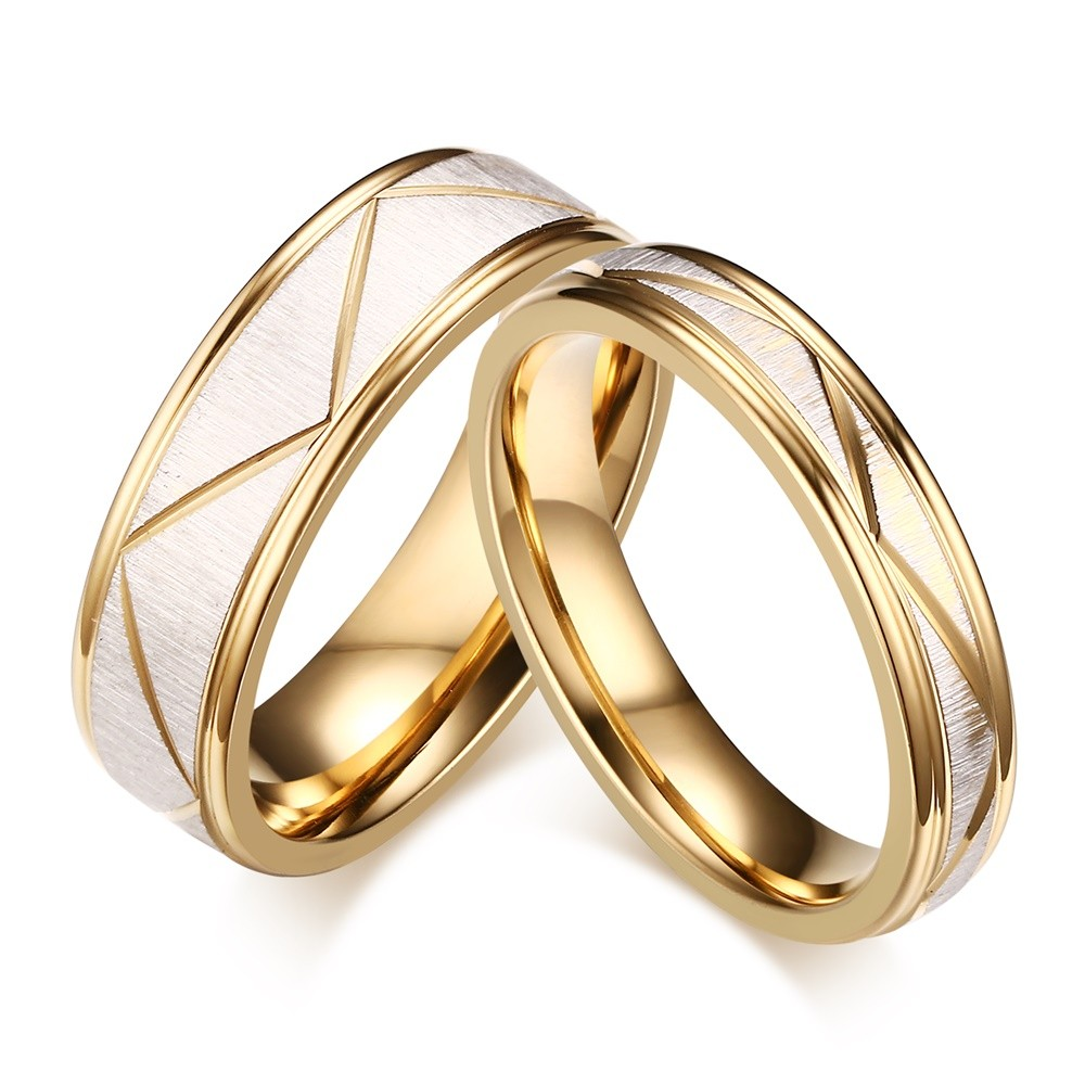 Elegant Gold Titanium Steel Promise Ring for Couples