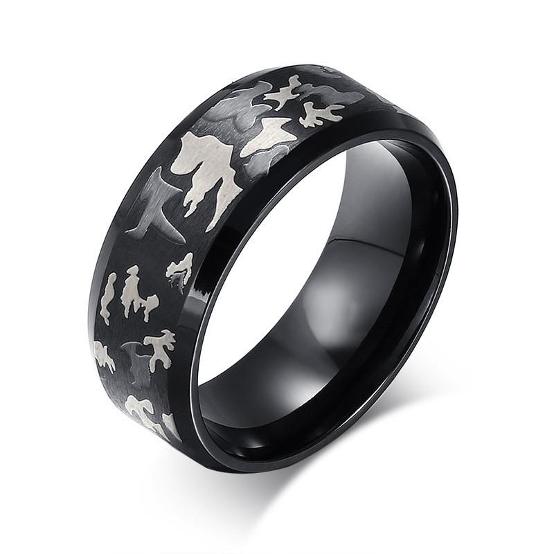 Fashion Pattern Black Titanium Steel Men's Ring