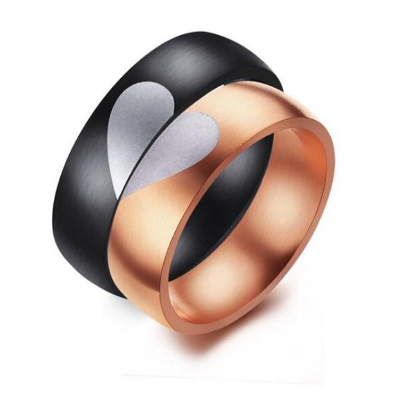 Heart Rose Gold & Black Titanium Steel Promise Rings for Couples