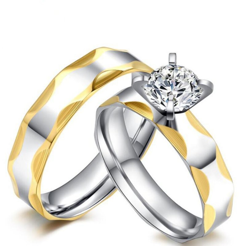 Titanium Steel Gold & Silver White Sapphire Promise Rings for Couples