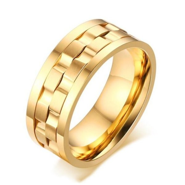 Titanium Unique Gold Color Men's Ring