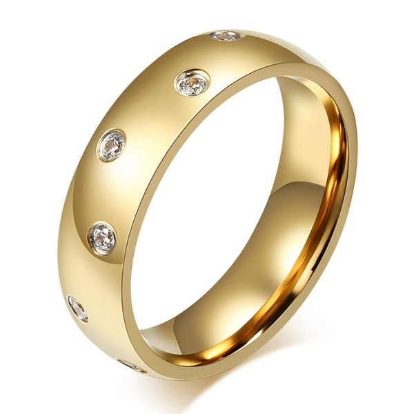 Titanium Gold Round Cut White Sapphire Men's Ring