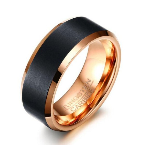 Tungsten Rose Gold Black Men S Ring Lajerrio Jewelry