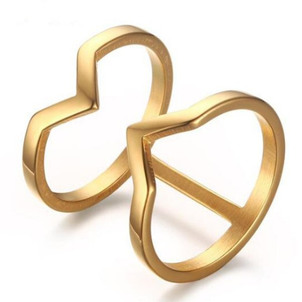Titanium Unique Design Gold Promise Rings For Her