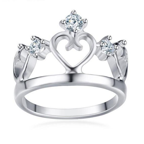 Titanium Crown Round Cut White Sapphire Silver Promise Rings For Her