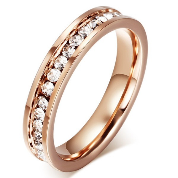 Titanium Rose Gold Round Cut White Sapphire Promise Rings For Her