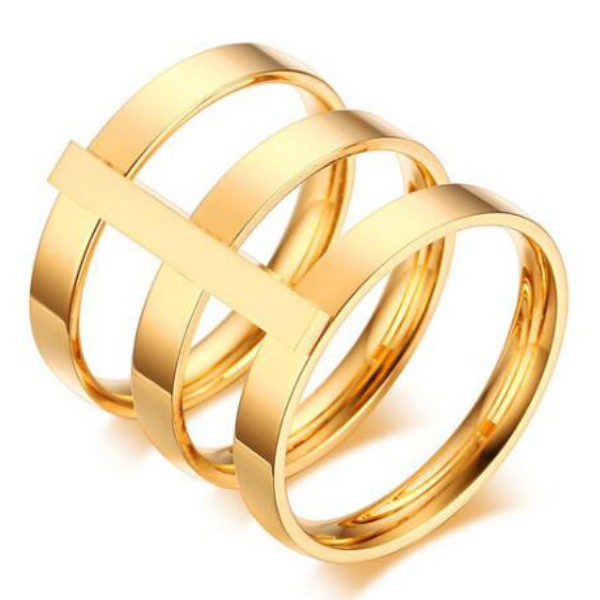 Titanium Beautiful Gold Promise Rings For Her