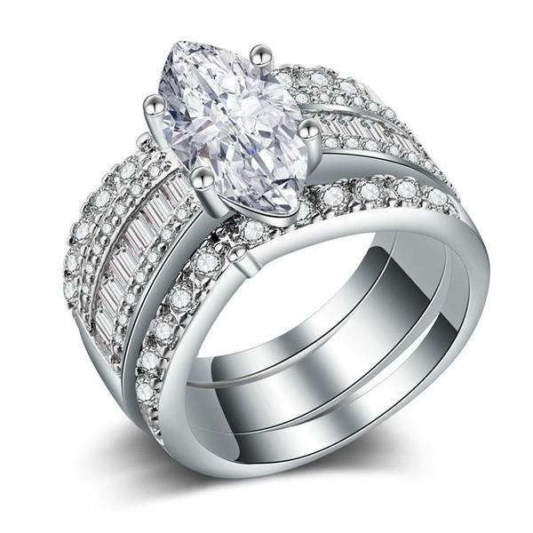 Gorgeous Marquise Cut White Sapphire 3 Piece Bridal Sets