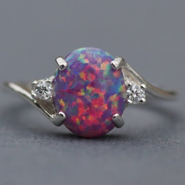 Cute Oval Cut Fire Opal Purple Rings