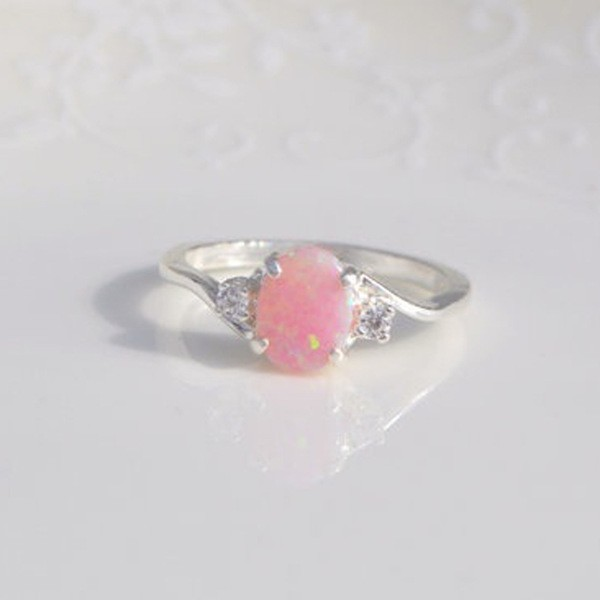 Cute Oval Cut Fire Opal Pink Rings