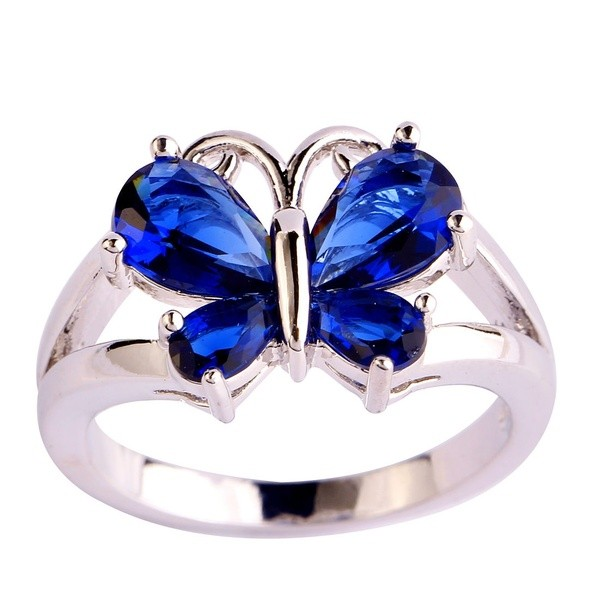 Colorful Gemstone Butterfly Promise Rings For Her