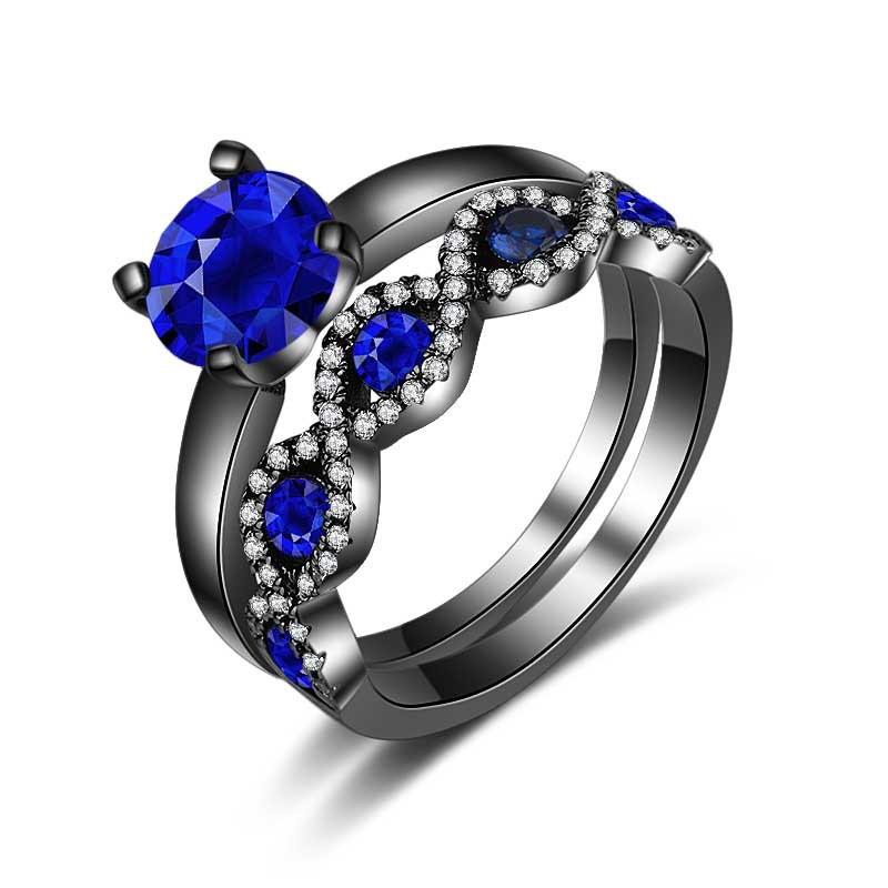 Round Cut Blue Sapphire Black Bridal Sets