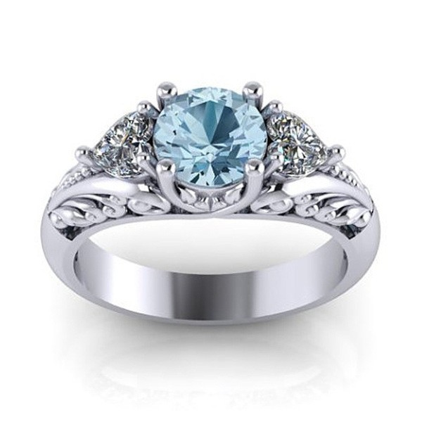 Vintage Round Cut Aquamarine Engagement Ring