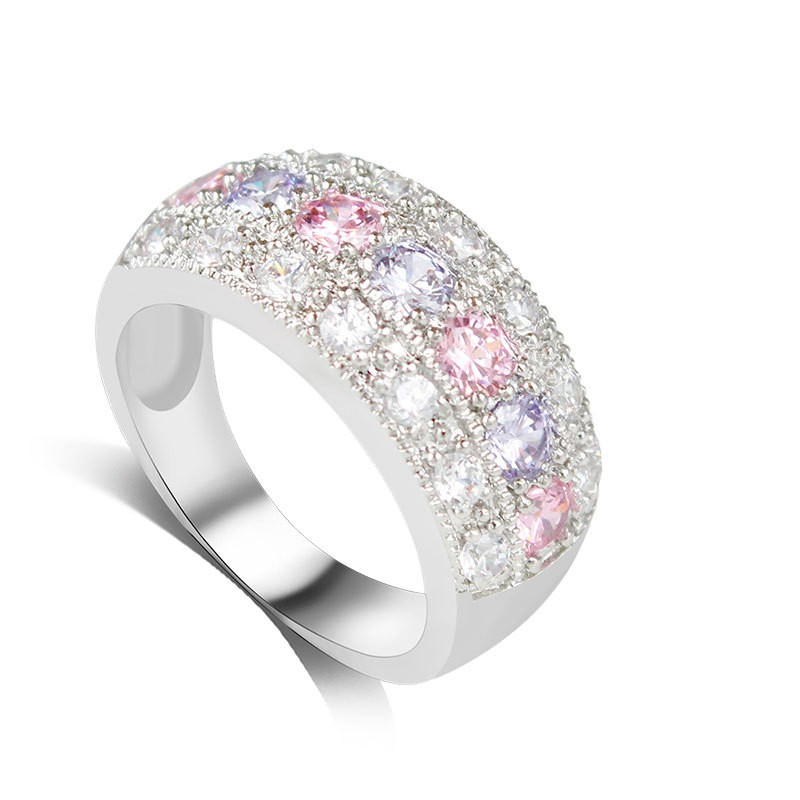Elegant Colorful Gemstones Women's Wedding Band