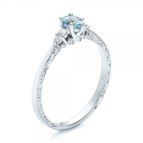 Lovely Pear Cut Aquamarine Engagement Ring