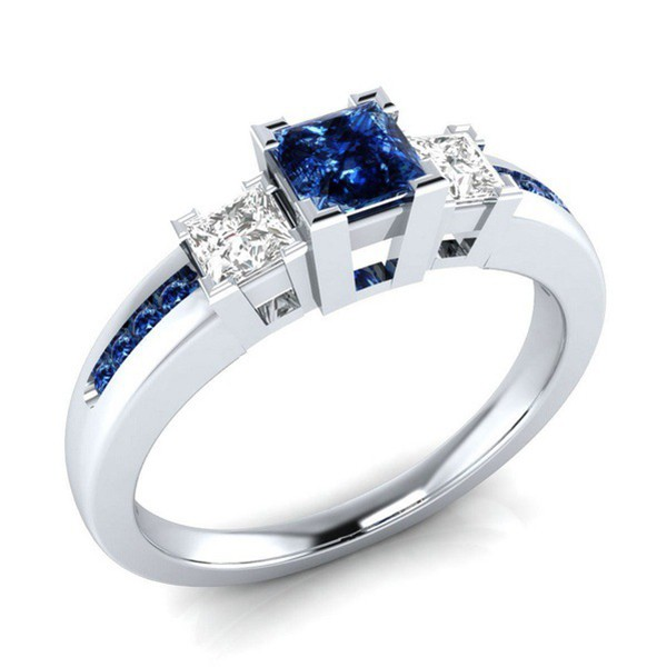 Princess Cut Bule & White Sapphire 3-Stone Engagement Ring
