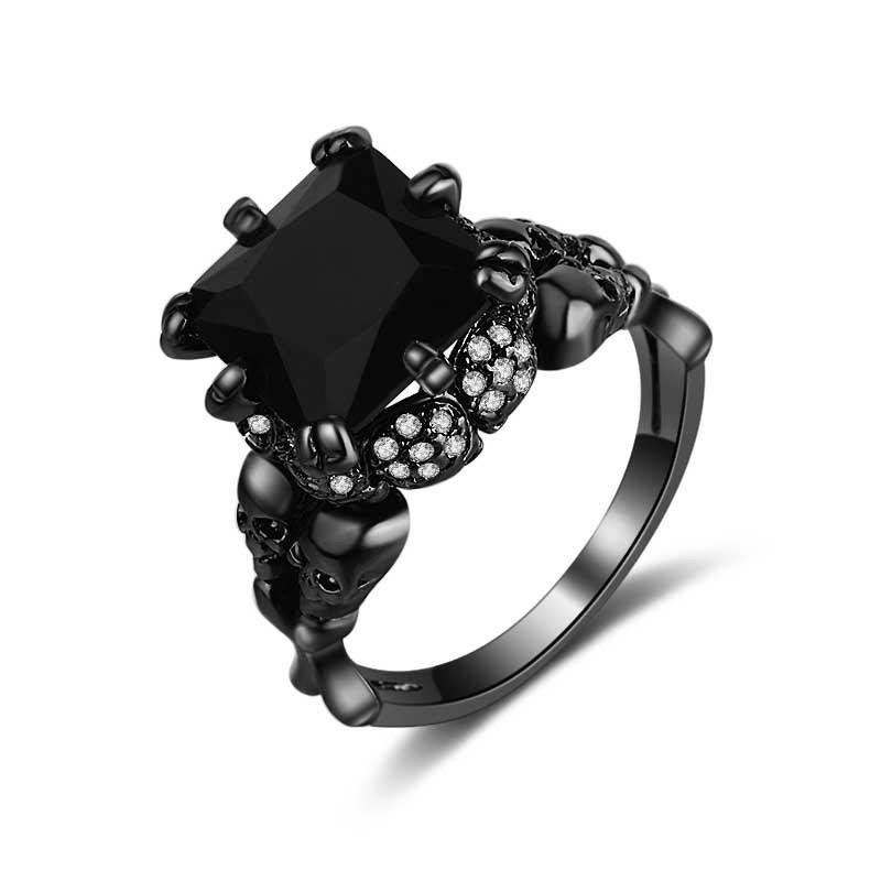 Cushion Cut Black Sapphire Skull Ring