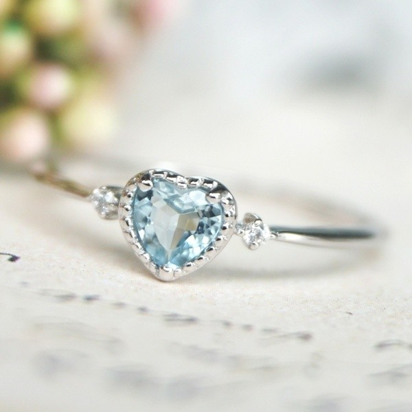 Cute Heart Cut Aquamarine Engagement Ring
