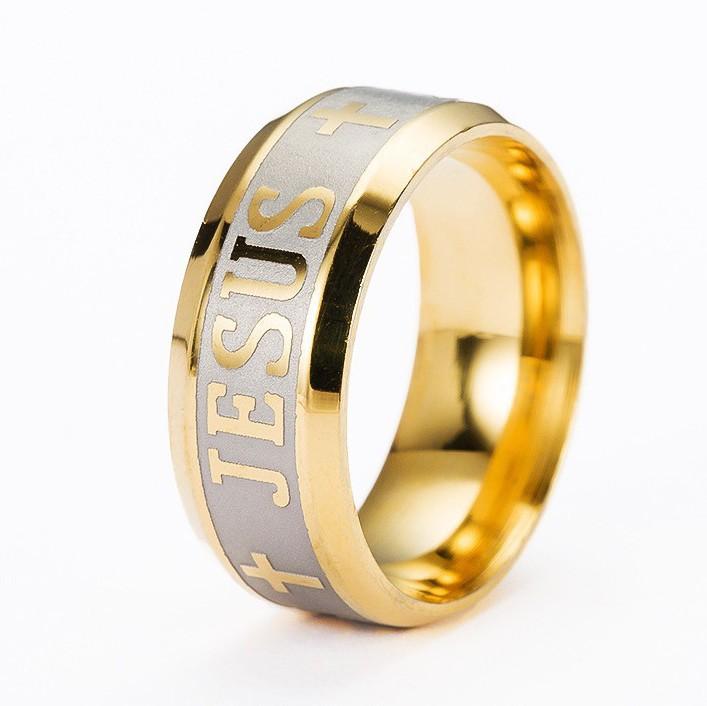 Gold Jesus Christian Cross Prayer Band