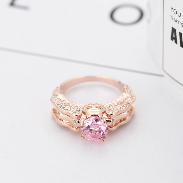 Round Cut Pink Sapphire Rose Gold Skull Ring for Women