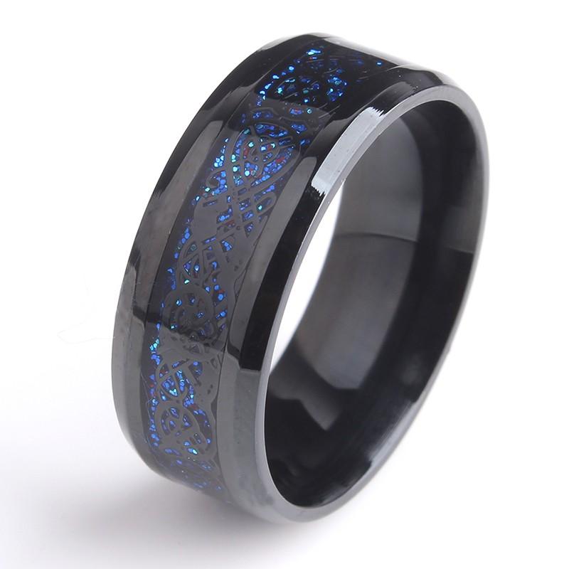 Black and Blue Beveled Dragon Titanium Men's Ring