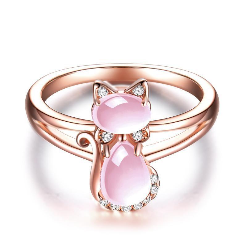 Cute Rose Gold Cat Ring