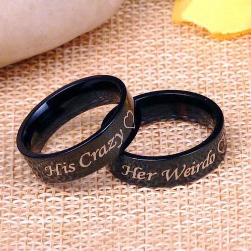 Black His Crazy Her Weirdo Couple Rings