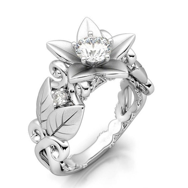 Beautiful Floral Round Cut White Sapphire Women's Ring