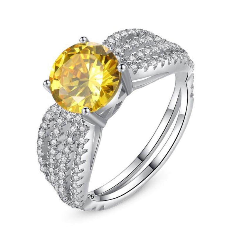 Round Cut Topaz 925 Sterling Silver Promise Ring