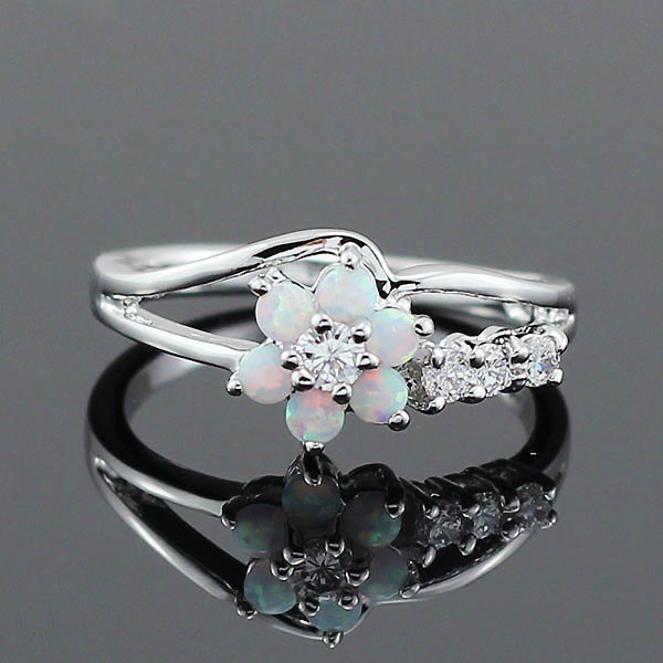 Round Cut White Sapphire White Flower Promise Ring